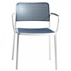 Audrey Shiny chair with arms Aluminium Shiny for indoor (2 units packaging)