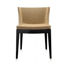 Mademoiselle chair black structure Fabric rafia