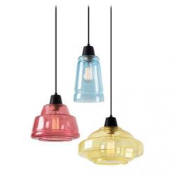 Color Lamp Pendant Lamps 3xE27 MAX 60W - Black Matt Diffusers Yellow, pink and Blue
