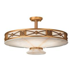 ceiling lamp 6L Muse Patine rojizo Alabaster white with talla beige