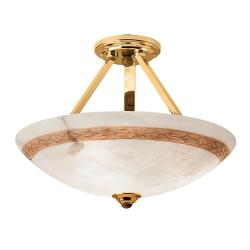 Axe ceiling lamp Brown/Oro Alabaster white with talla Brown