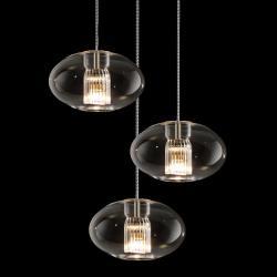 Fairy SG R3 Pendant Lamp geoide triple spiral Glass/Chrome