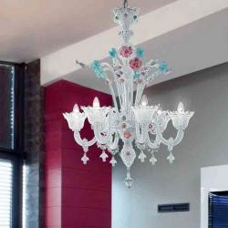 700 L6 lamp Pendant Lamp Glass Aguamarinaina Rosa/Chrome