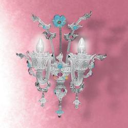700 P2 Wall Lamp Glass Aguamarinaina Rosa/Chrome