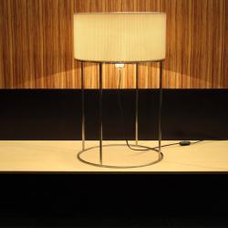 2098 T40 Lampada da tavolo Nichel Paralume Plisada Beige