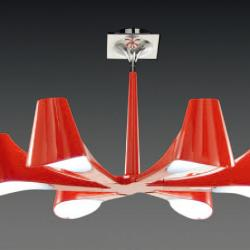 Ora Lámpara Colgante /SemiPlafón Lacado Rojo 6L