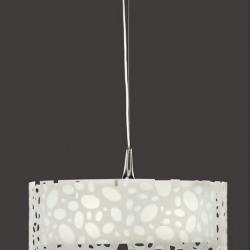 Moon Pendant Lamp round Chrome/white 4L