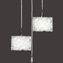 Moon Pendant Lamp spiral Chrome/white 3L