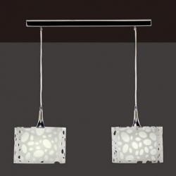 Moon Pendant Lamp linear Chrome/white 2L