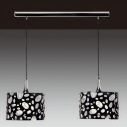 Moon Pendant Lamp linear Chrome/white + Black 2L