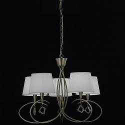 Mara Pendelleuchte 5 lampenschirme 5xE14 20w leder/weiß