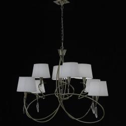 Mara Pendelleuchte 8 lampenschirme 8xE14 20w leder/weiß