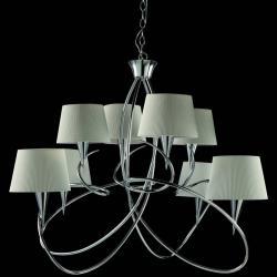 Mara Pendelleuchte 8 lampenschirme 8xE14 20w Chrom/weiß