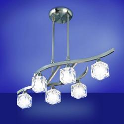 Cuadrax lámpara Colgante telescópica Níquel Satinado/Optico 6L