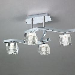 Cuadrax Lámpara SemiPlafón Níquel Satinado/Optico 4L