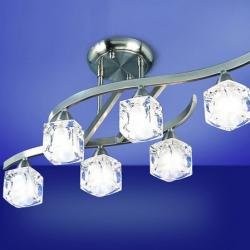 Cuadrax Lampe Semideckeleuchte Nickel Satin/Optico 6L