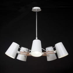 Looker Pendant Lamp 5L 5x15w E27 white/Wood/metal