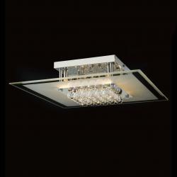 Mantra Glass ceiling lamp Square 50cm G9 6x40w Glass Chrome