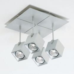 Dau Spot Plafón 4 focos Cuadrado GU10 Aluminio Anodizado