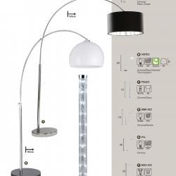 Arcs lámpara de Pie 1xE27 100w Cromo
