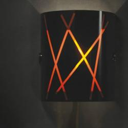 Raisa 1AP20 Wall Lamp Chrome Titanium Glass Black Stripes orange