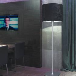 Belinda 50 lámpara de Pie Aluminio Satinado pantalla Tercipelo negro