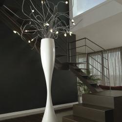 Kenya 50 lámpara of Floor Lamp fibra of Glass Lacquered white ø29cm Chrome mate