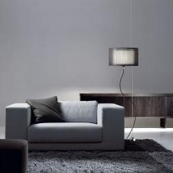 Loe negro lámpara de Pie /Colgante Cromo brillo textil negro