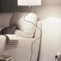 Loe Classic lámpara of Floor Lamp /Pendant Lamp Aluminium Matt Rafia white