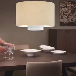 Lopo 1C60 Pendant Lamp fabric white ø60cm Lino Tierra