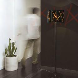 Raisa 50 lámpara of Floor Lamp Chrome Titanium ø400cm Glass Black Stripes orange