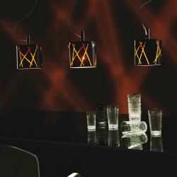 Raisa 3C10 Pendant Lamp triple ø20cm Chrome Titanium Glass Black Stripes orange
