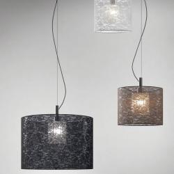Rossana 1C10 Pendant Lamp Single bright chrome ø28cm Blonda white