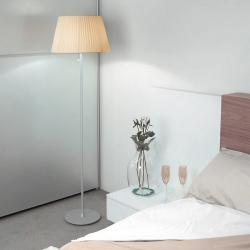 Tusscana 60 lámpara of Floor Lamp Aluminium mate/wengue ø45cm Cinta silk beige