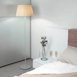 Tusscana 60 lámpara de Lâmpada de assoalho Alumínio mate/wengue ø45cm Cinta seda beige