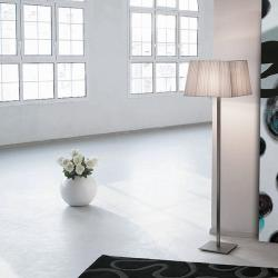 Martina 60 lámpara of Floor Lamp Nickel Satin 155cm lampshade Cinta silk white
