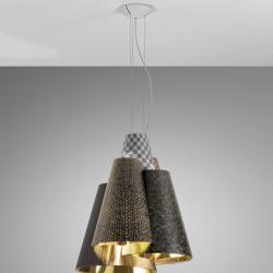 Melting Pot Lámpara Colgante 60 E27 70W Halo Exterior fantasías oscuras/interior Oro