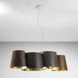 Melting Pot Lámpara Colgante 115 E27 4x70W Halo Exterior fantasías oscuras/interior Oro