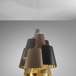 Melting Pot Lámpara Colgante 120 E27 3x70W Halo Exterior fantasías oscuras/interior Oro