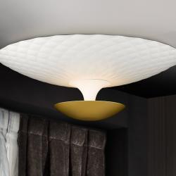 Laura Plafón 4x42W LED ø55x19cm - Blanco roto mate y dorado