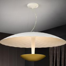 Laura Lámpara colgante 4x42W LED ø55x25cm - Blanco roto mate y dorado
