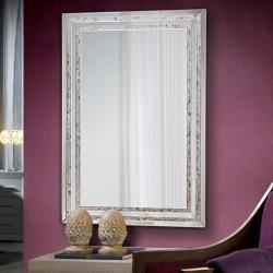Nacar Espejo rectangular con luna central biselada 80x120x2cm - Tiras de nacar y acabado negro
