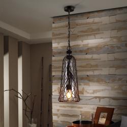 Laza Lámpara colgante tulipa cristal soplado 60W LED ø21x58cm - Negro óxido