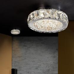 Dana Plafón ø23x8cm - LED 18W Cromado, transparente y ámbar