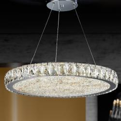 Dana Lámpara colgante ø49x6cm - LED 56W Cromado, transparente y ámbar