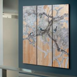 Birds Tríptico 135x150x4cm - Pintado a mano Talla y lacas tintadas