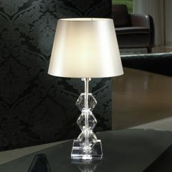 Corinto Sobremesa LED 60W ø30x54cm - Metal cromado y cristal transparente