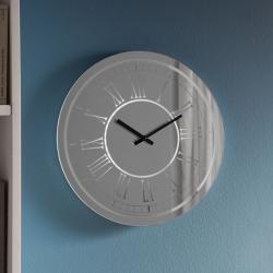 Toulouse Reloj de pared iluminado 1,4W LED ø38x38cm - Espejo plata, lacado blanco