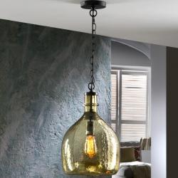 Laia Lámpara colgante con tulipa cristal soplado LED 60W ø28x45cm - Negro y ambar