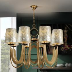 Edén Lámpara colgante 8L LED 8x20W ø90x70cm - Pan de oro y negro, nácar